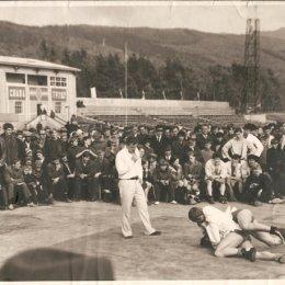 Фотография свидетельствует о необычайной популярности самбо сорок лет назад. Соревнования и показательные выступления проводились не только в залах, но и на стадионе «Космос». За ними с интересом наблюдали сотни болельщиков.