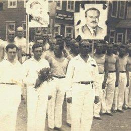 """Открытие соревнований общества """"Динамо"""". г. Александровск, около 1935 года."""