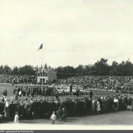 Соревнования по боксу на стадионе в городском парке, 1957 год.