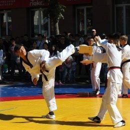 Выступление тхэквондистов на праздновании 135-летия Южно-Сахалинска