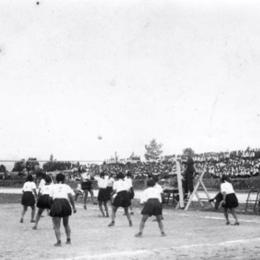 Игра в волейбол на стадионе в парке Тойохары