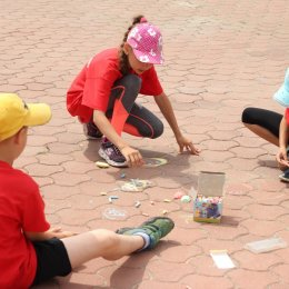 """Конкурс рисунков на асфальте в лагере ВЦ """"Сахалин"""""""
