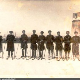 Занятия лыжными гонками, офицеры, Южно-Сахалинск, 1947 год