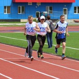 Забег на 1000 метров в зачет Спартакиады пенсионеров Сахалинской области