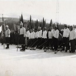 Открытие соревнований по хоккею с мячом, середина 1970-х годов