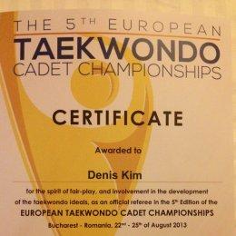 Денис Ким был судьей двух финальных схваток первенства Европы