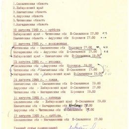 Календарь игр зонального турнира Спартакиады народов РСФСР (Южно-Сахалинск, Корсаков)